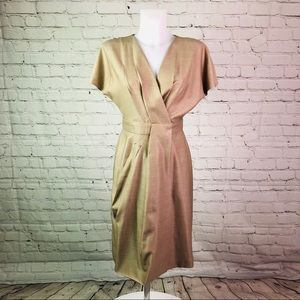 Tan MaxMara Cap Sleeve Wrap Dress Sz 6